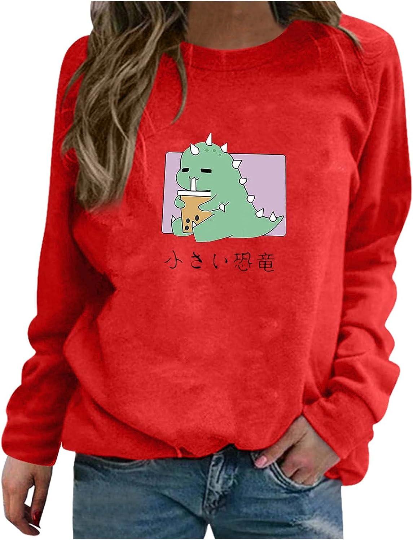 fannyouth Womens Sweatshirt Pullover,Cute Dinosaur Sweartshirts Kawaii Cartoon Long Sleeve Crewneck Sweatshirts Blouses