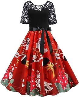 Harpily Vintage Abito Donne Manica Corta Natale retrò Pizzo Abito Natale Stampa Natalizio Una Linea Dress Eleganti Abito d...