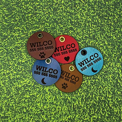 Wilco Supply Company - Custom Handcrafted Leather Pet Identification Tag for a Stylish, Durable and SILENT Alternative to Traditional Metal Dog Tags - Colors: Brown, Blue, Mist, Red and Camel