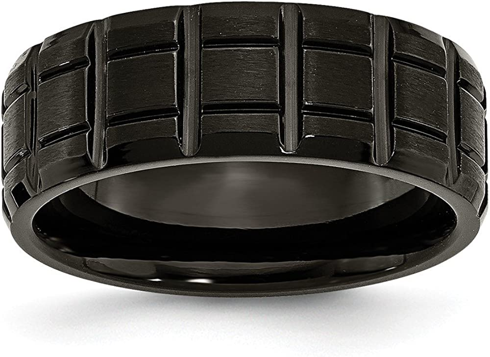 Sonia Jewels Titanium Notched Black IP-Plated 8mm Men's Matte Brushed Finish and Wedding Band Ring