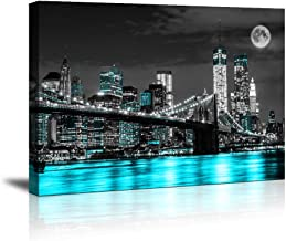 """canvas wall art blue sea New York Brooklyn bridge paintings Wall Art,Black and White Stretched wall art for bedroom artwork Canvas Art Prints, 12""""x16""""Wall Decor Painting bedroom Office, Ready"""