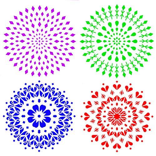 Demason 4 Stück Mandala Dotting Schablone, Mandala Punkt Malvorlagen für Wände, Malerei, Scrapbooking, Stempel, Album, dekorative Prägung, Papier, Karte, Blumenvorlage (30,5x30,5CM)