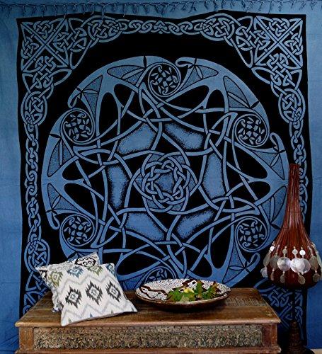 Guru-Shop Wandbehang, Wandtuch, Mandala, Tagesdecke Keltisch - Design 23, Blau, Baumwolle, 220x190x0,1 cm, Bettüberwurf, Sofa Überwurf