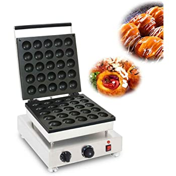 Electric Takoyaki Maker, Commercial 25 Holes Japanese Octopus Fish Ball Cake Grill Pan Kitchen 110V 1800W