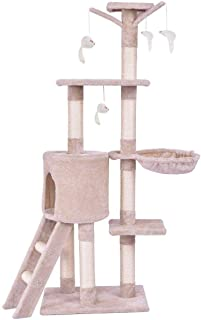 138cm Cat Play Tree,Pole Pet Scratching Post Furniture Home - beige