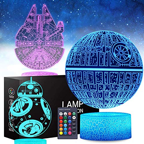 Bar Stools 3D Star Wars Night Light, 16 Colores Que cambian la lámpara Nocturna LED con Toque Remoto y Elegante, cumpleaños para niños y fanáticos de Star Wars (3 Paquetes)