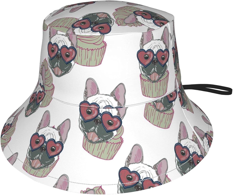 Jeezshop Bucket Hat with Popular Puppy Print Max 56% OFF Cupcake Sun Ad in