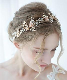 FXmimior - Fascia per capelli dorata da sposa, con strass e perle, accessorio per capelli per balli studenteschi (oro)