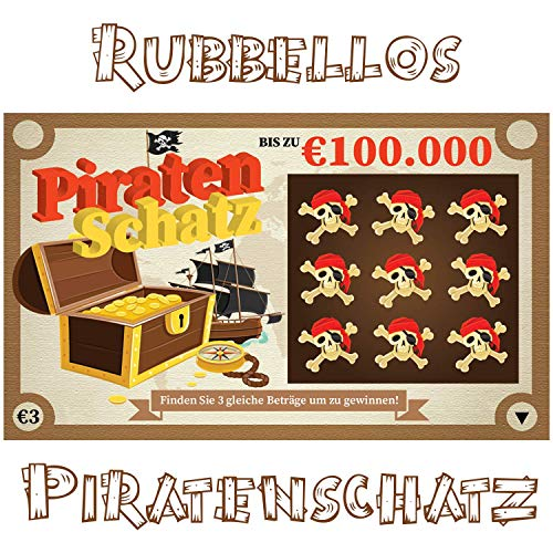 Rubbellos Scherzartikel - Fake Lotto Gewinn - Jedes Los beinhaltet einen Jackpot - Der ultimative Streich! Lustiges Realistisch wirkender Lotto MEGA Jackpot! (1x Piratenschatz)