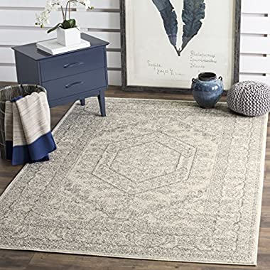 Safavieh Adirondack Collection ADR108B Ivory and Silver Oriental Vintage Medallion Square Area Rug (10' Square)