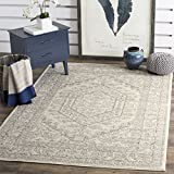 Safavieh Adirondack Collection ADR108B Ivory and Silver Oriental Vintage Medallion Square Area Rug (4' Square)