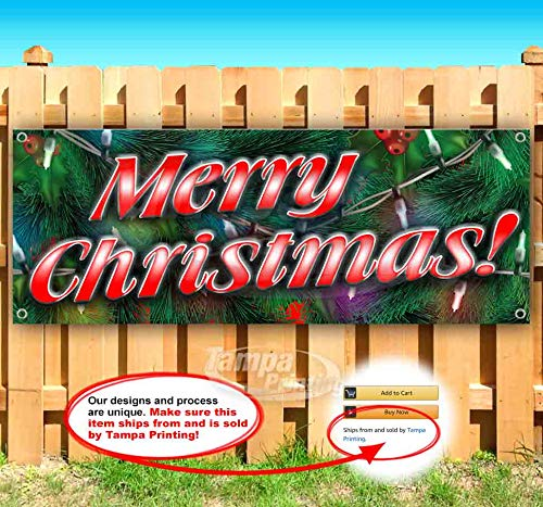 Merry Christmas 1 13 oz Heavy Duty Vinyl Banner with 4 Grommets