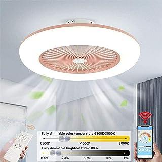 Plafón Ventiladores para el techo con lámpara y Control Remoto & App Control, Invisible Ventilador De Techo Iluminación interior, Velocidad Del Viento Ajustable, Dimable 3000K-6500K LED Luz De Techo