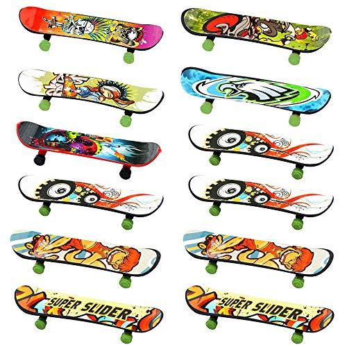 INTVN Finger Skateboard Set - 12PCS Fingerboard,Mini Skateboard Finger Für Kinder Geburtstage, Geschenke(Zufällige Farbe)