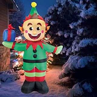 Joiedomi 5 Foot Elf with Present Inflatable LED Light Up Christmas Xmas for Blow Up Yard Decoration, Indoor Outdoor Garden Christmas Decoration