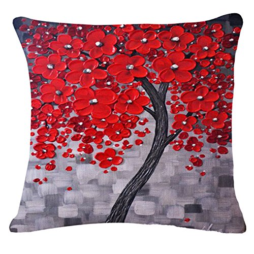 QINU KEONU Oil Painting Black Large Tree and Flower Birds Cotton Linen Throw Pillow Case Cushion Cover Home Sofa Decorative 18 X 18 Inch (red Flower)