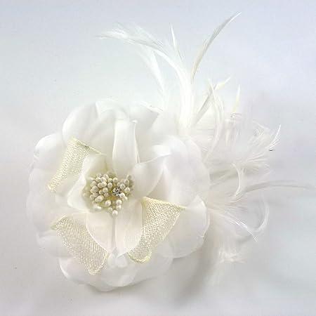 Pince à cheveux bibi fleur mariage cérémonie organza plumes perles branche dorée