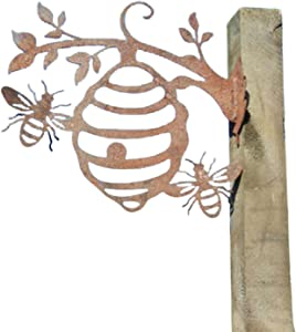 ZS ZHISHANG Bee Hive Garden Decor Iron Silhouettes, Tree Plug-in Ornament, Bee Decorations, Metal Art, Garden Art, Backyard Art,Tree Art, Silhouette Art, Metal Animal Silhouette Stake for Yard