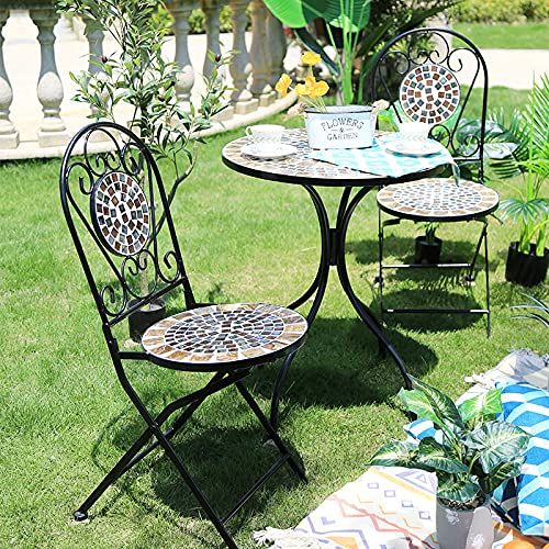 Home Source Sofia Mosaic Bistro Set Outdoor Patio Garden Furniture Table and 2 Chairs Metal Frame, Black
