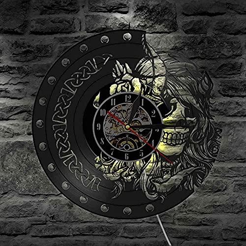 Reloj de pared de vinilo con luz LED de 7 colores misterioso nórdico magia mute cuarzo pared belleza mujer vikingo cabeza esqueleto niñas retro colgante reloj