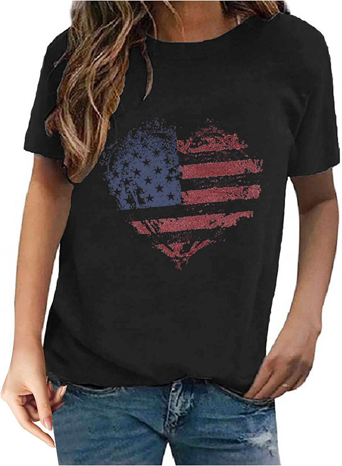 Sayhi Women Independence Day Shirts Casual Shirts Vest Fashion Print Short Sleeve Round Neck T-Shirt Top