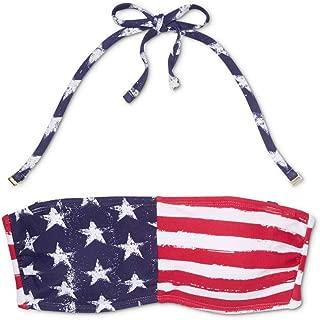 Xhilaration Women Strapless Bandeau American Flag Bikini Top