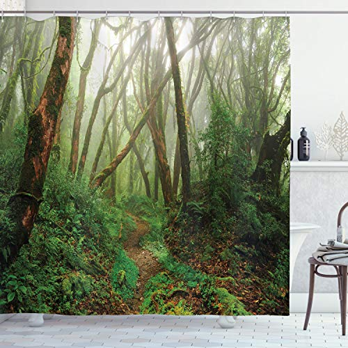 ABAKUHAUS Wald Duschvorhang, Exotischer Dschungel Wald, Bakterie Schimmel Resistent inkl. 12 Haken Waschbar Stielvoller Digitaldruck, 175 x 180 cm, Grün-Braunen