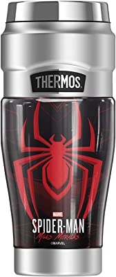 Spider-Man Miles Morales Geometric Logo THERMOS STAINLESS KING Stainless Steel Travel Tumbler, Vacuum insulated & Double Wall, 16oz