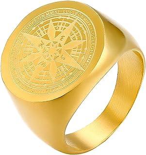 JewelryWe Anello Grande da Uomo Disegn Bussola Colore Scelta Regalo