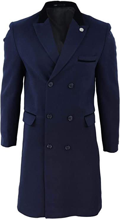 1920s Men's Coats & Jackets History TruClothing.com Mens 3/4 Long Double Breasted Crombie Overcoat Jacket Wool Coat Blinders £74.99 AT vintagedancer.com