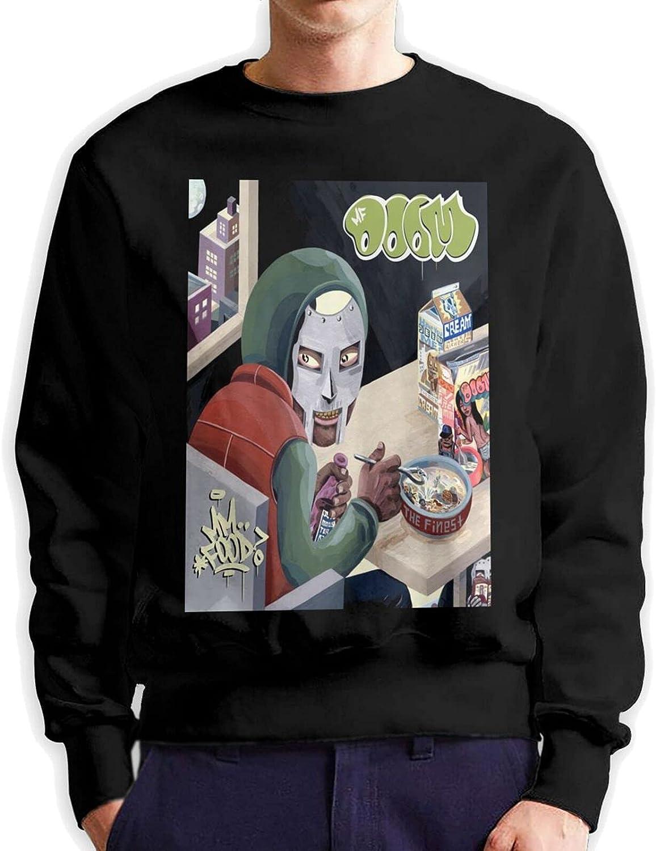 Mf Doom Mens Long Sleeve Printed Pullover Cotton Black