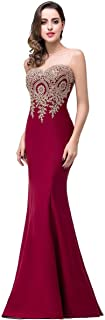 Babyonline Mermaid Evening Dress for Women Formal Lace Appliques Long Prom Dress