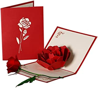 HUNGER Handmade 3D Pop Up Rose Flower Birthday Cards Creative Greeting Cards Papercraft (ROSE)