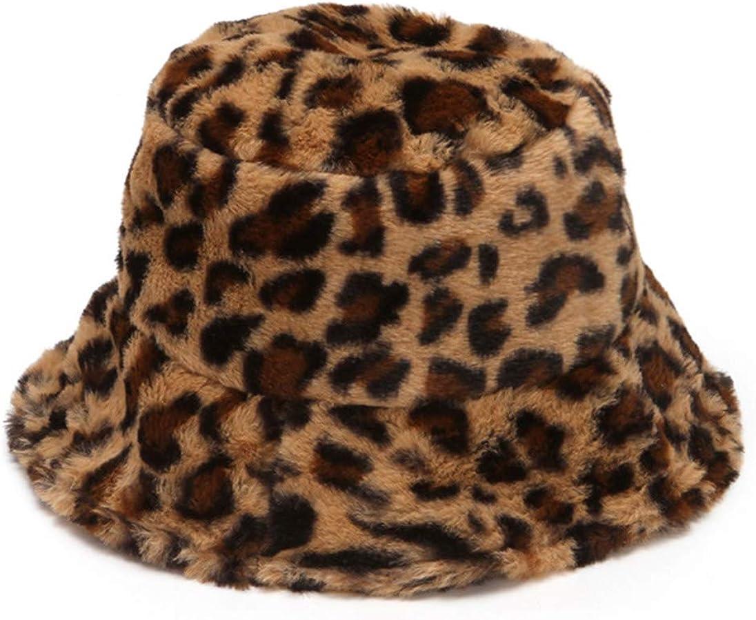 Women's Leopard Print Faux Fur Bucket Hat Fluffy Winter Warmer Plush Fisherman Cap