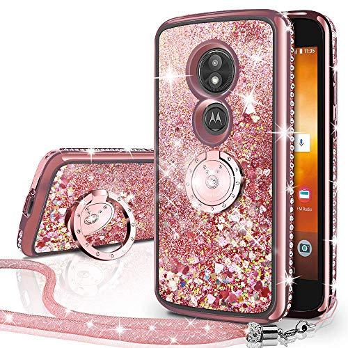 Silverback Moto E5 Plus Case, Moto E5 Supra Case Moving Liquid Holographic Sparkle Glitter Case with Kickstand, Bling Diamond Bumper Slim Protective Case for Motorola E Plus 5th Gen -RD