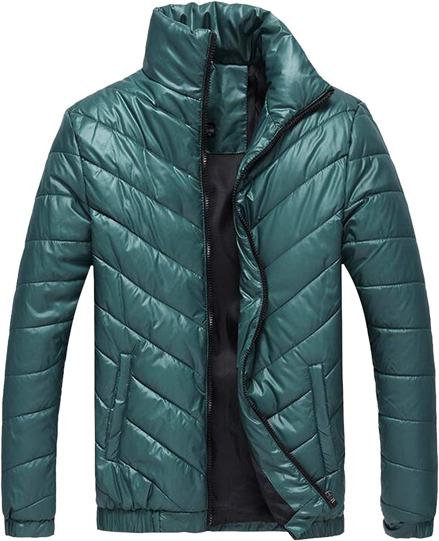 Lutratocro Men Fashion Thick Puffer Winter Zipper Stand Collar Parka Parka Parka Jackets Coat 447597