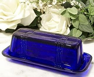 DREAM HOME DECORATING Butter Dish Cobalt Blue Glass