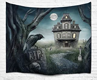 BJHAP Halloween Tapestry Black Crow Flying Bats Haunted Castle Graveyard Gothic Full Moon Magic Themed Fabric Tapestry Wall Hangings for Bedroom Living Room Dorm 80 x 60 Inches