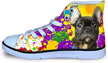 FOR U DESIGNS Lace up High Top Canvas Sneakers for Kids Boys Girls Toddlers Fashion Dog Dinosaur Painting