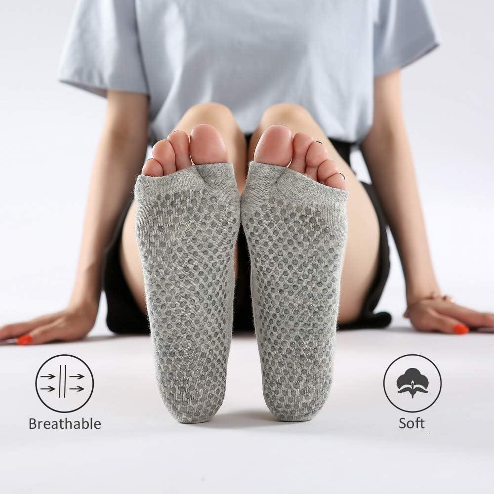 Yoga Socks for Women Non-Slip Grips,3 Packs Solid Color Women Pilates Socks