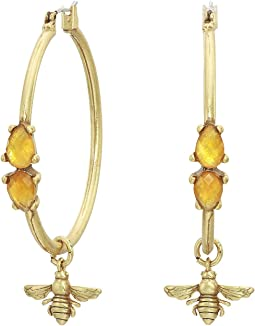 Set Stone Hoop Earrings with Bee Charm