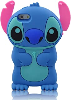 Modal Cute Movable Ear Flip Stitch & Lilo Silicone Cover Case for iPhone 5 (Blue)