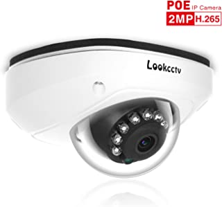 lookcctv 1080P 2.8mm Lens IP Dome Camera, 2.0MP Network POE Camera Weatherproof CCTV Security Camera,10PCS LEDs Night Vision,P2P Cloud,Motion Detection,View Remotely,ONVIF