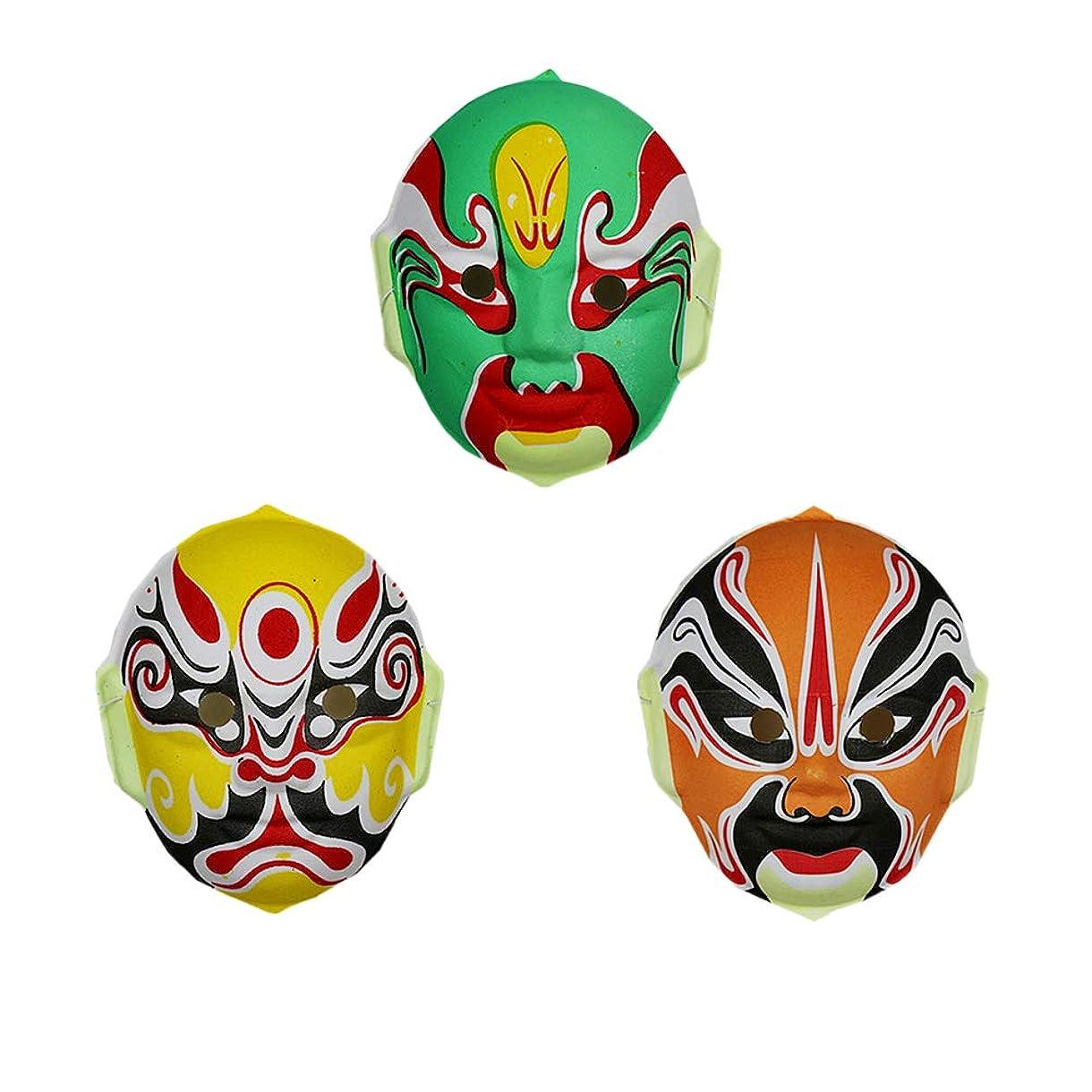 振るうジャンピングジャック粒子TINKSKY 3本 中国 オペラマスク 伝統オペラマスク ハロウィーン コスプレ小道具 パーティー用品 (ランダムスタイル)