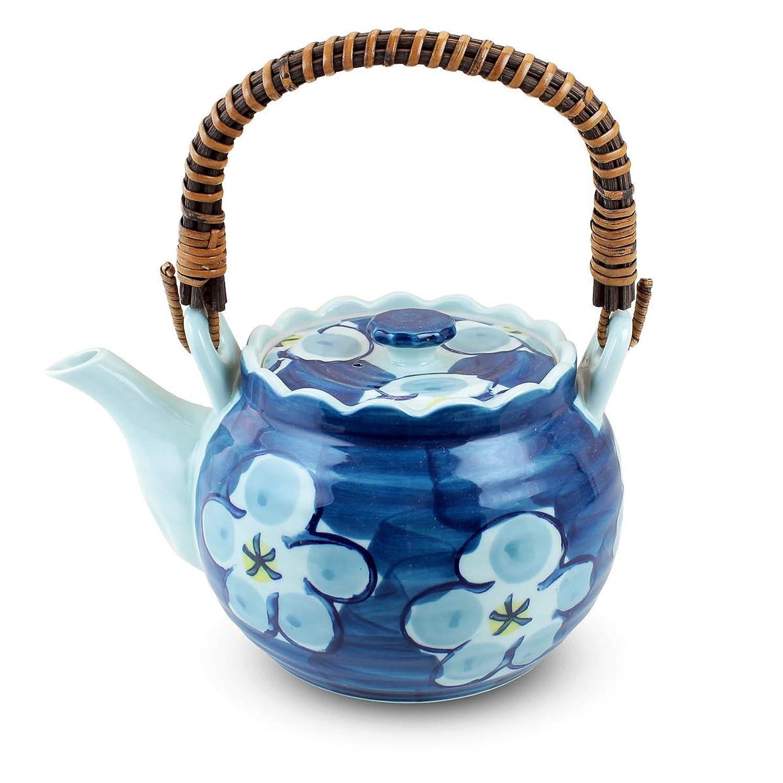 水素招待気体の土瓶 おしゃれ : 有田焼 ゴス濃梅 つる?U型茶漉付き八号土瓶(1200cc) Japanese Tea pot/Size(cm) 21.5x15x12/No:481447