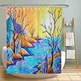 MuaToo Oil Painting Sunset Landscape Fabric Shower Curtain, Strange Landscape Bright Colors Texture Decorative Shower Curtains for Bathroom, Waterproof Fabric 72x72 Inch with Hooks