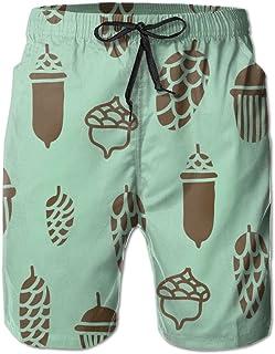 LORVIES Mens Watercolor Crane Pattern Beach Board Shorts Quick Dry Swim Trunk