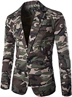 Mens Suit Jackets Classic Fit Camouflage One Button Blazer Coat Jacket Tops