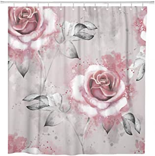 ArtSocket Shower Curtain Pink Flowers and Leaves On Gray Watercolor Floral Home Bathroom Decor Polyester Fabric Waterproof 72 x 72 Inches Set with Hooks