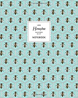 Honeybee Notebook - Ruled Pages - 8x10 - Large: (Aqua Edition) Fun notebook 192 ruled/lined pages (8x10 inches / 20.3x25.4...